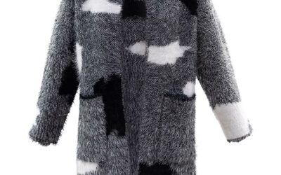 Marble black cardigan fluffy
