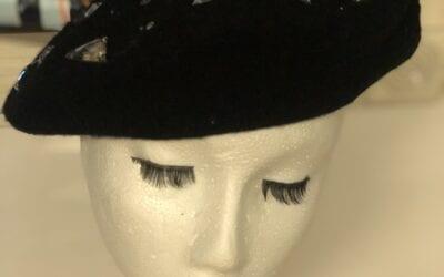 black diamanté beret