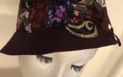 Burgundy flower hat