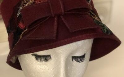 Burgundy bow hat