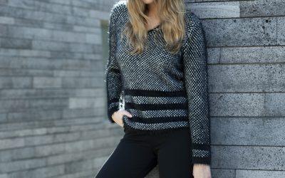 Marble black fluffy jumper