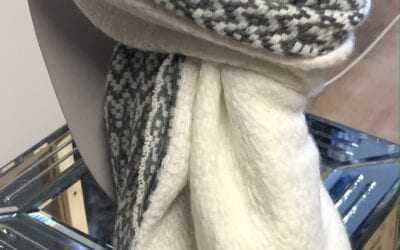 Pia Rossini Grey and Cream Mix Scarf