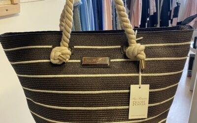 Leo Guy navy and white stripe bag